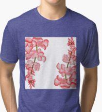 Watercolor Pink Floral Design Tri-blend T-Shirt
