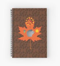 Grey Squirrel Autumn Pattern Spiral Notebook