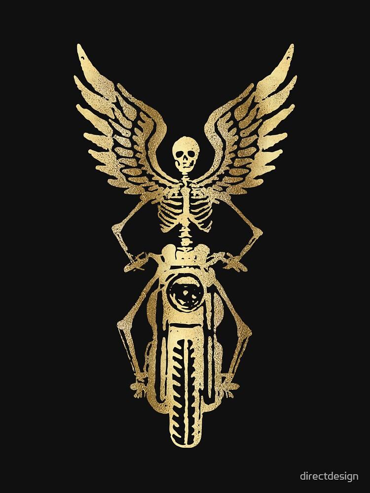 Born to Ride Skeleton Biker - Gold Metallic by directdesign