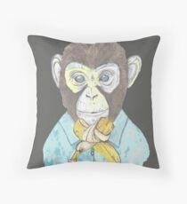 monkey wears banana bow-tie Throw Pillow