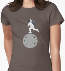 Astronaut Skateboarding Funny Cartoon Drawing  T-Shirt