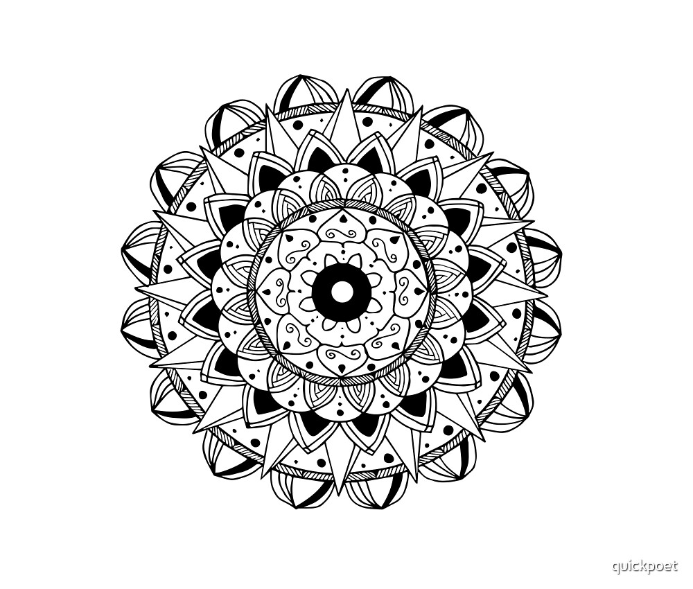 Delicate black mandala on white by quickpoet