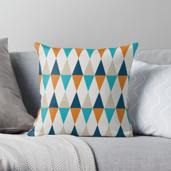 Geometric Pattern: Harlequin: Blue/Orange Throw Pillow