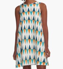 Geometric Pattern: Harlequin: Blue/Orange A-Line Dress