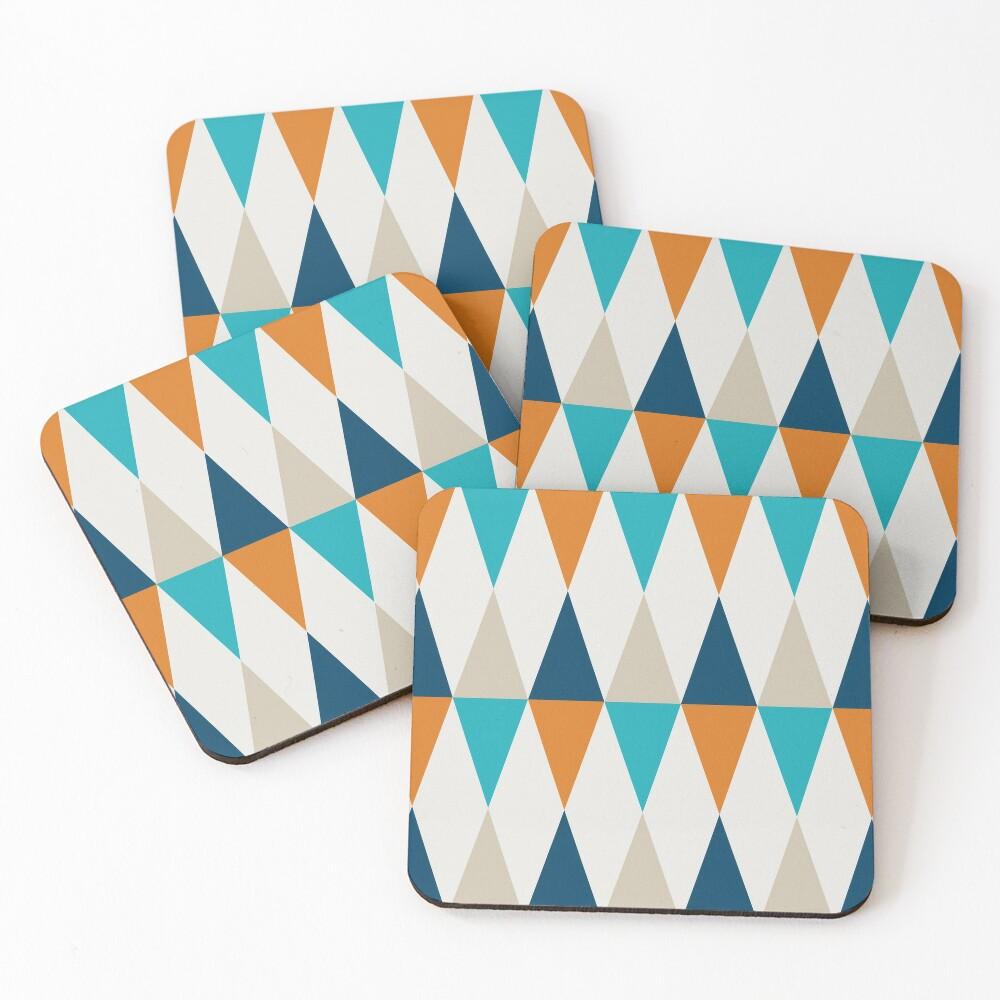 Geometric Pattern: Harlequin: Blue/Orange Coasters (Set of 4)