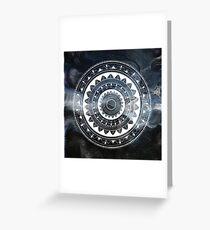 Ukatasana white mandala on sky Greeting Card