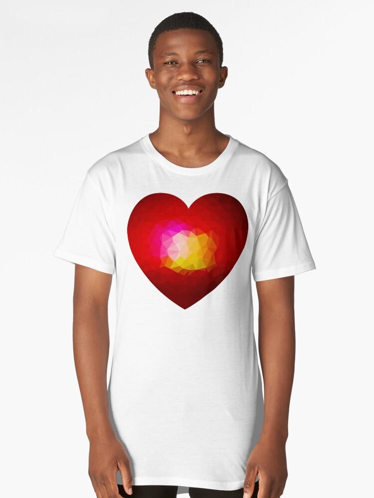 Red geometric burning heart Long T-Shirt Front