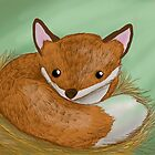 A Fox curled up in his bed of straw by Extreme-Fantasy