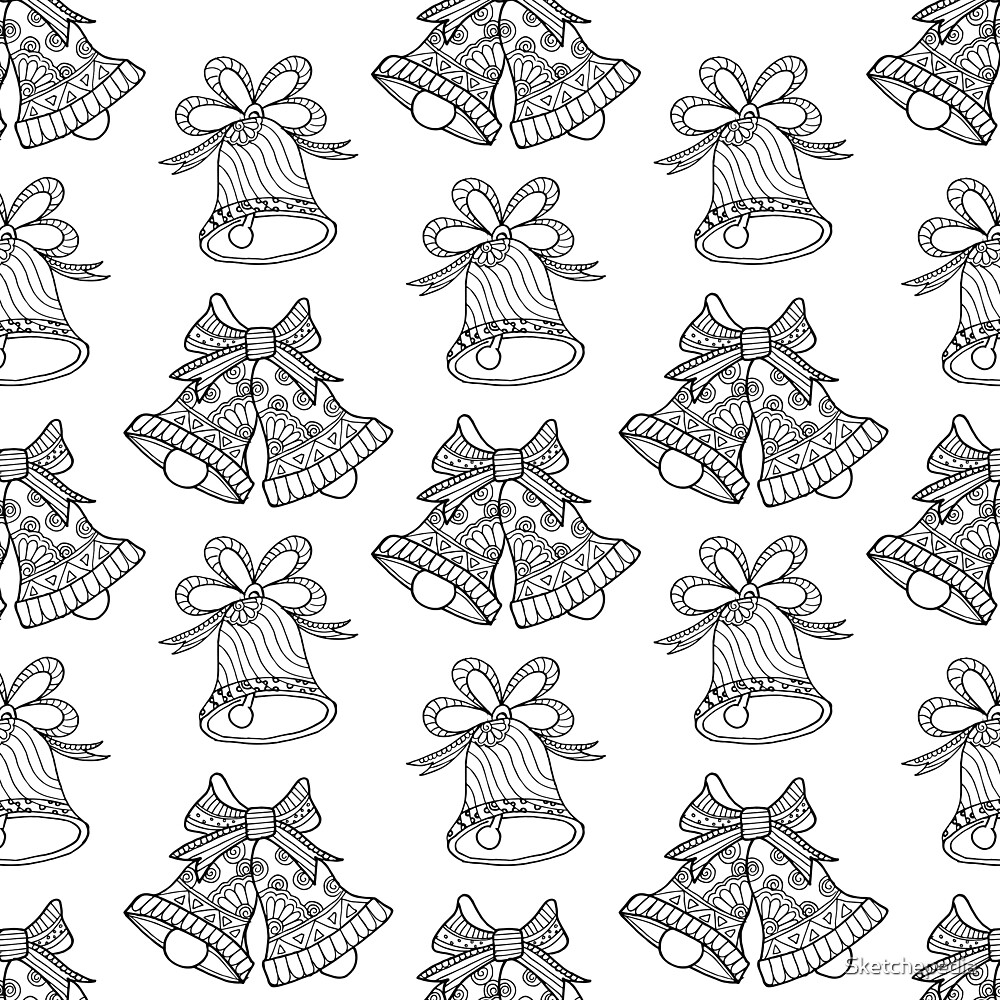 Hand Drawn Black And White Bells  by Sketchepedia