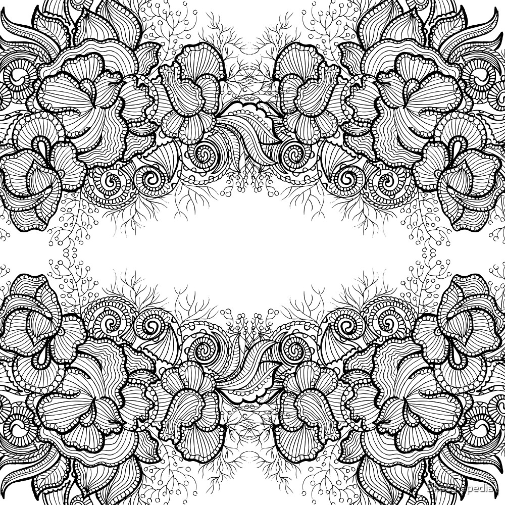 Black and White Floral Pattern by Sketchepedia