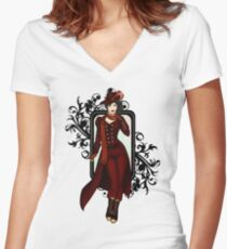 Red Victorian Steampunk Explorer Women's Fitted V-Neck T-Shirt
