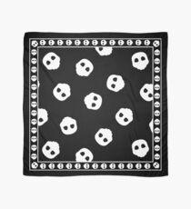 White Skulls on Black Nu Goth Gothic Alternative pattern Scarf