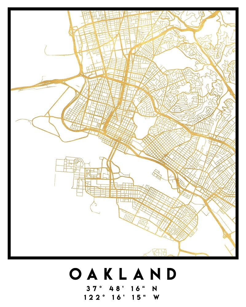 OAKLAND CALIFORNIA CITY STREET MAP ART by deificusArt