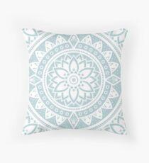 Duck Egg Blue & White Patterned Flower Mandala Throw Pillow