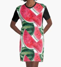 Juicy watermelon. Watercolor Tropical Fruit Graphic T-Shirt Dress