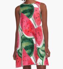 Juicy watermelon. Watercolor Tropical Fruit A-Line Dress