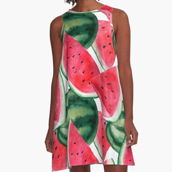 Juicy watermelon. Watercolor Tropical Fruit A-Line Dress
