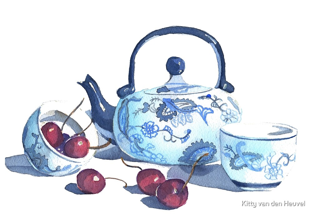 Chinese teapot with cherries - watercolors by Kitty van den Heuvel