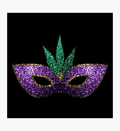 Mardi Gras Mask Purple Green Gold Sparkles Photographic Print
