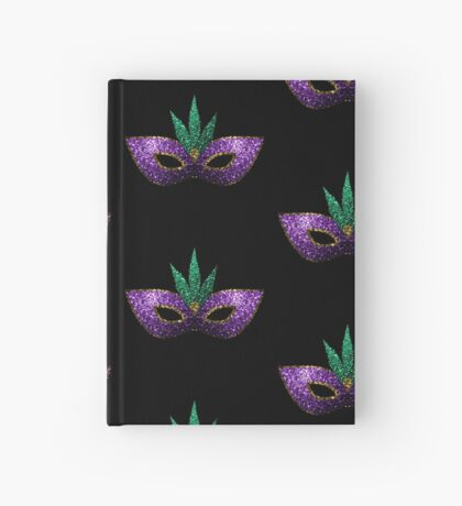 Mardi Gras Mask Purple Green Gold Sparkles Hardcover Journal