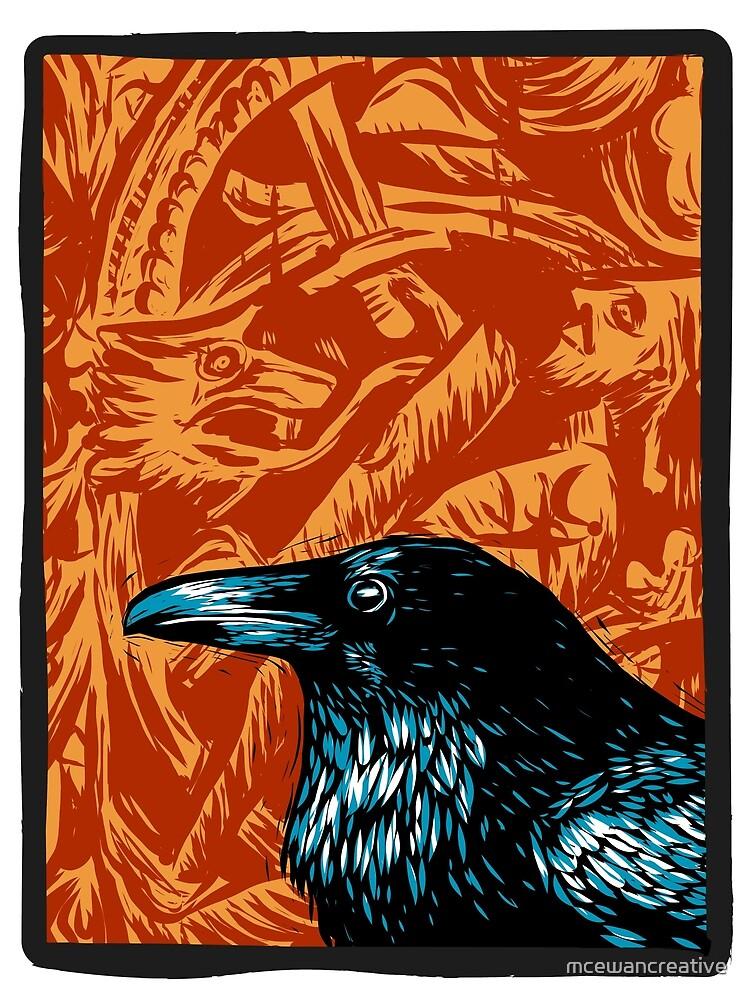 Black Raven on Red Viking Background by mcewancreative