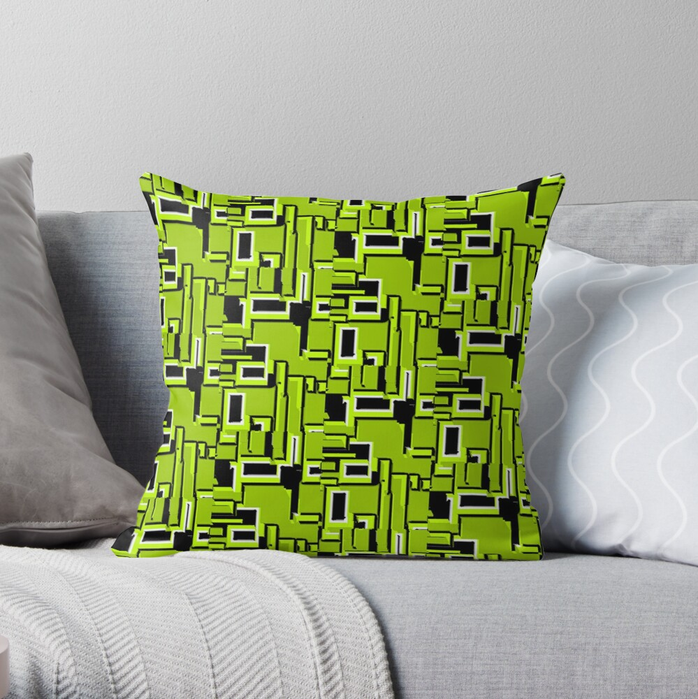 BLACK AND GREEN ATOMIC GREEN DREAM DESIGN 1950S- 1960S VINTAGE DESIGN  FOR A REVAMPED DECORATIVE HOME Throw Pillow