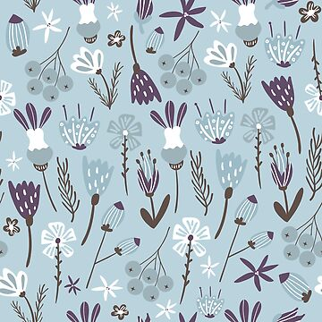 Cool Blue Autumn Florals and More by lakeeffect