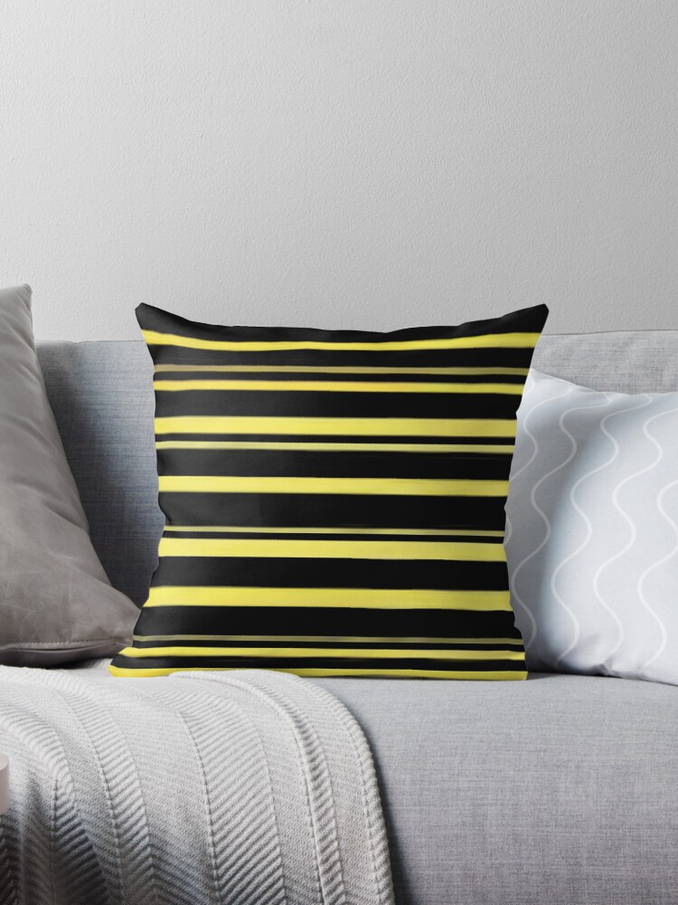DOUBLE BLACK AND YELLOW BUMBLEBEE STRIPE DESIGN FOR UNIQUE DECOR AND EYE CATCHING CLOTHING  by ozcushionstoo