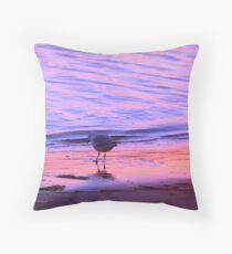 Purple-Orange Seagull Sunset Throw Pillow