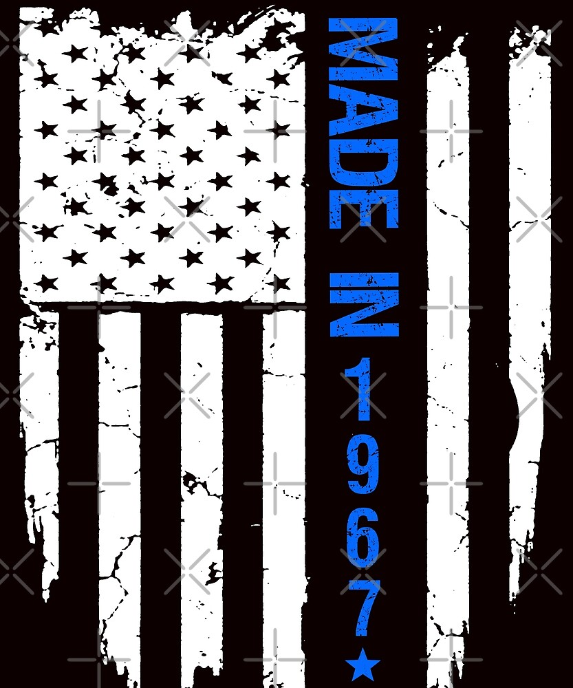 50th Birthday Made In 1967 Flag T-shirt by Kimcf