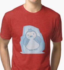 Cute Penguin Frozen in an Ice Block Tri-blend T-Shirt