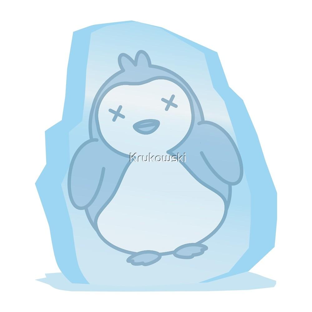 Cute Penguin Frozen in an Ice Block by Krukowski