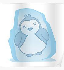 Cute Penguin Frozen in an Ice Block Poster