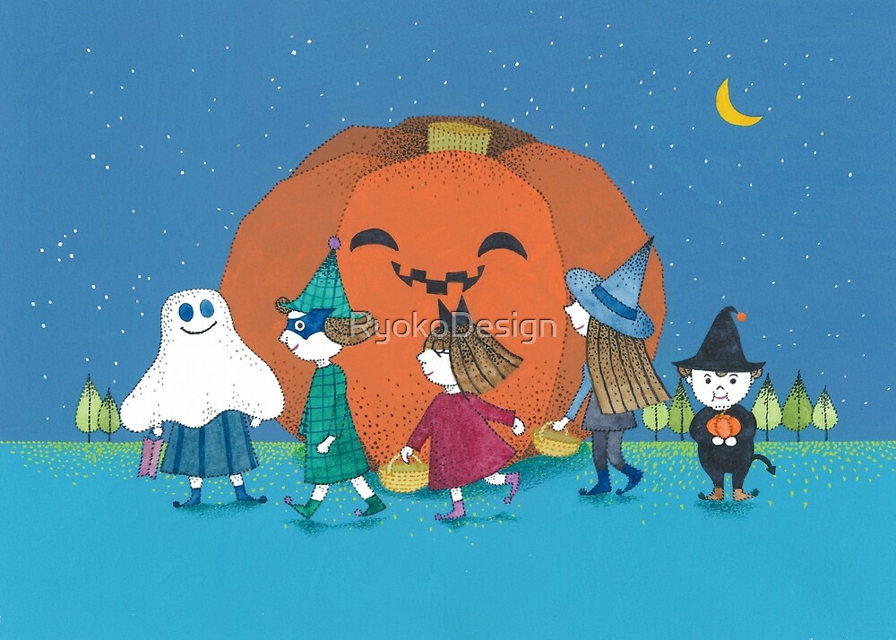 Kids around jack o' lantern by RyokoDesign