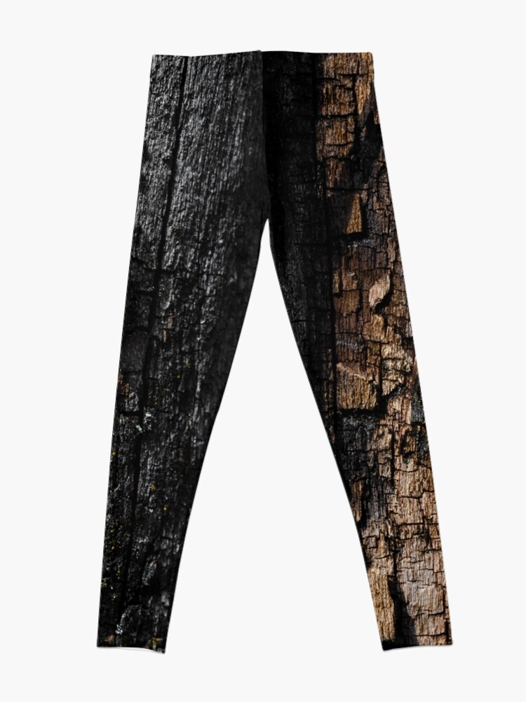 Alternate view of Cool Brown wood bark with yellow lichen pattern Leggings