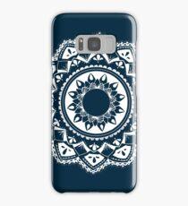 Warrior white mandala on blue Samsung Galaxy Case/Skin