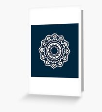 Warrior white mandala on blue Greeting Card
