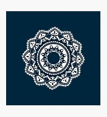 Warrior white mandala on blue Photographic Print