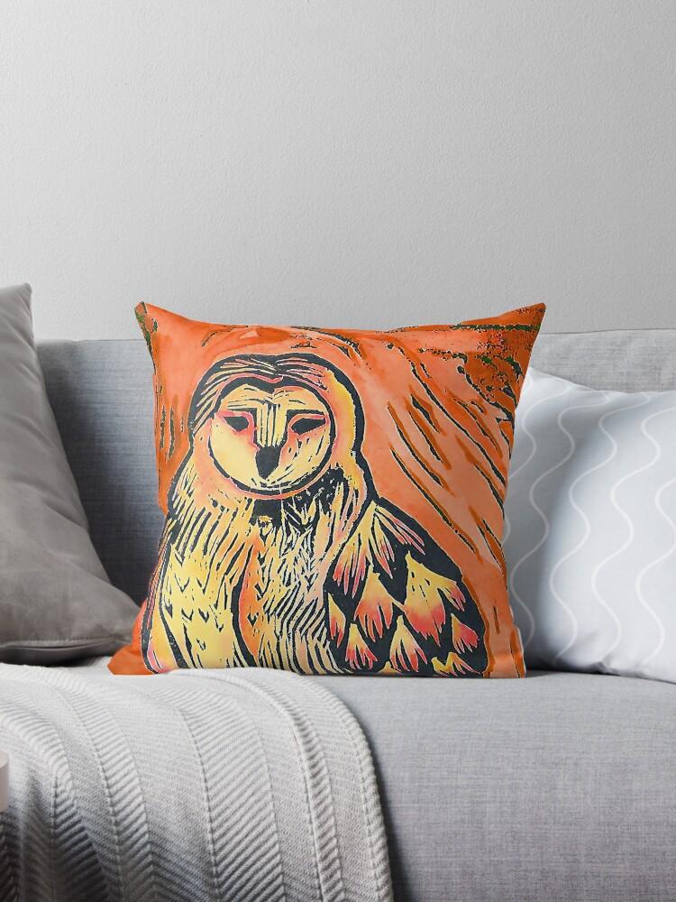 Warm orange owl nature lino print by Krystal Dales