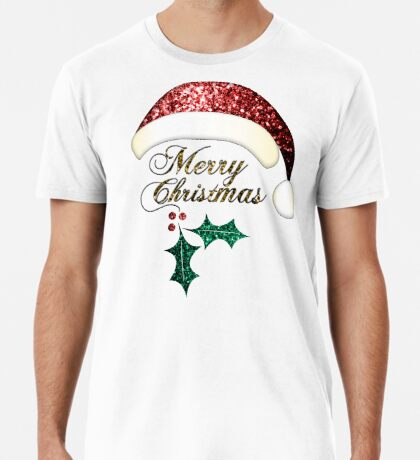 Merry Christmas Santa hat with red, gold and green sparkles Men's Premium T-Shirt