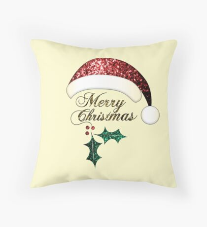 Merry Christmas Santa hat with red, gold and green sparkles Throw Pillow