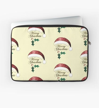 Merry Christmas Santa hat with red, gold and green sparkles Laptop Sleeve