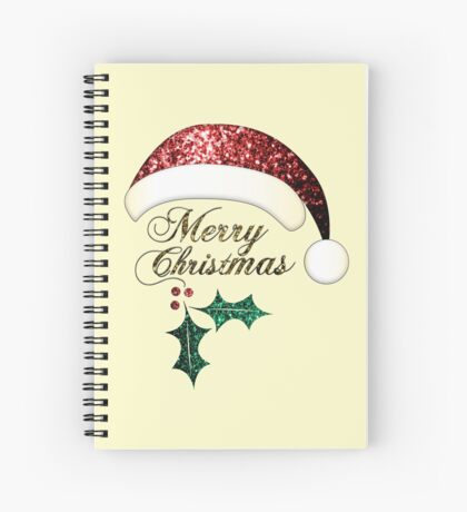 Merry Christmas Santa hat with red, gold and green sparkles Spiral Notebook