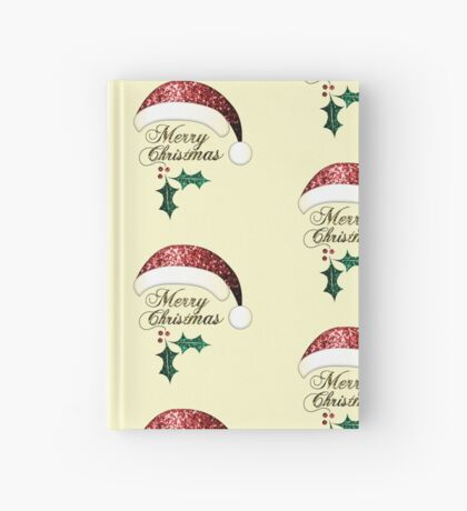Merry Christmas Santa hat with red, gold and green sparkles Hardcover Journal