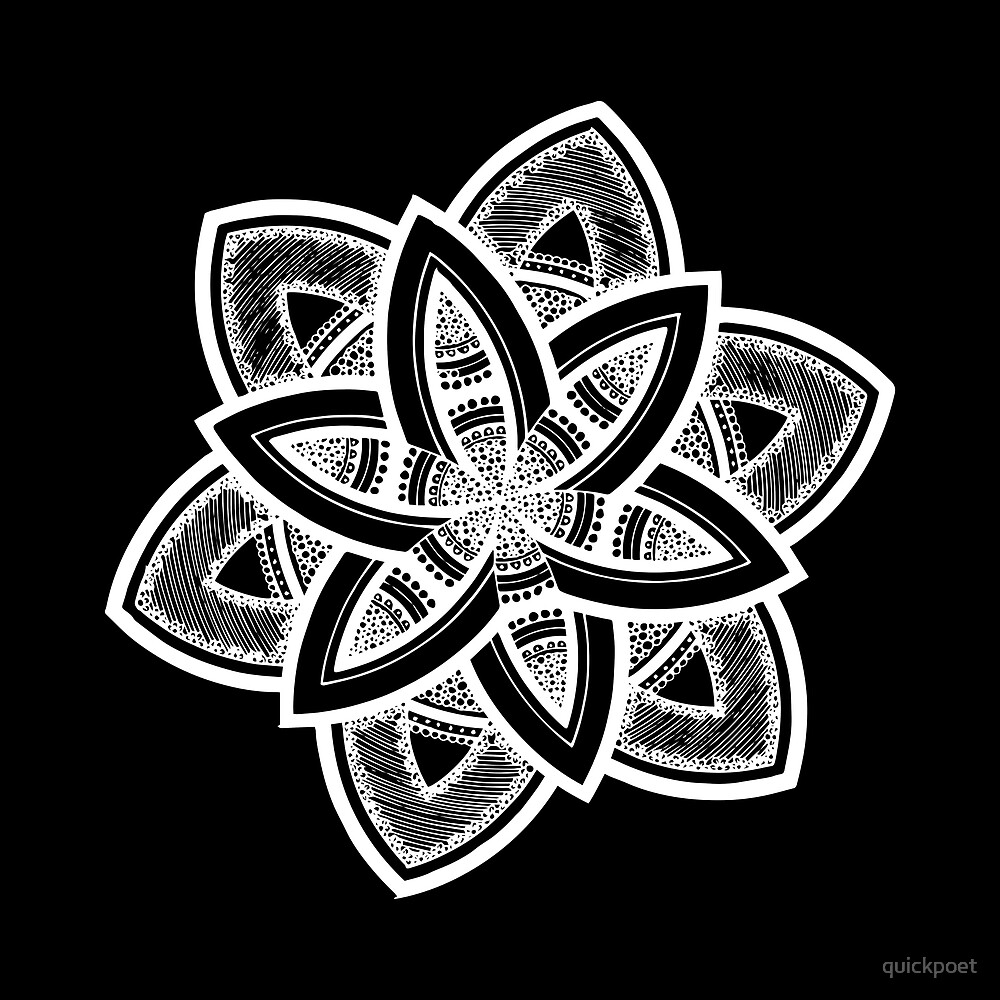 Authentic white mandala on black by quickpoet