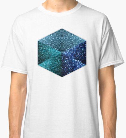 Hexagon blue sparkles geometric diamond Classic T-Shirt