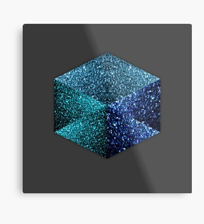 Hexagon blue sparkles geometric diamond Metal Print