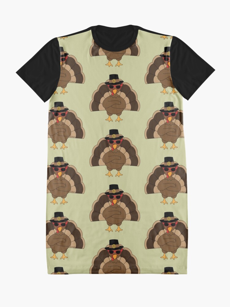 Alternate view of Cool Turkey with sunglasses Happy Thanksgiving Graphic T-Shirt Dress