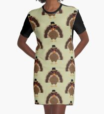 Cool Turkey with sunglasses Happy Thanksgiving Graphic T-Shirt Dress