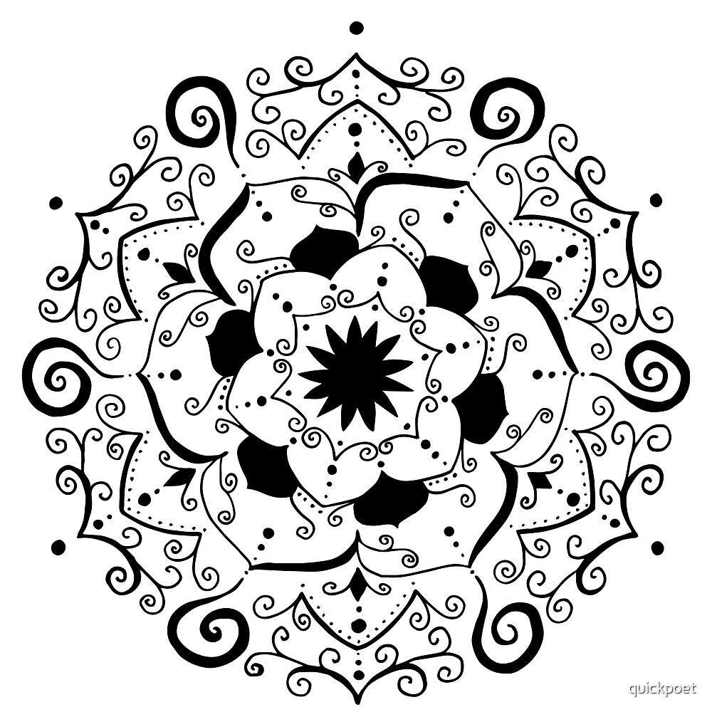 Namaste black mandala on white by quickpoet